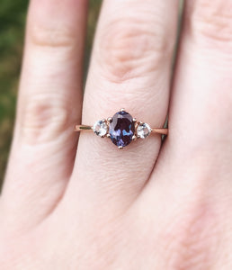 Alexandrite moonstone three stone 14k gold engagement ring,
