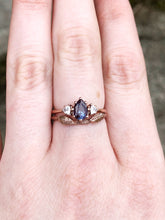 Load image into Gallery viewer, Alexandrite moissanite three stone engagement ring, pear engagement ring, Made to order in 2-3 weeks