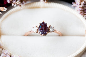 Alexandrite moissanite three stone engagement ring, pear engagement ring, Made to order in 2-3 weeks