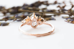 Moissanite three stone twig ring, trillion pear ring, alternative engagement ring, nature engagement ring, diamond alternative ring, gold