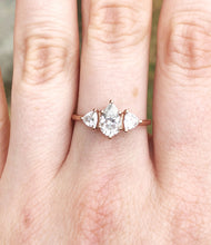 Load image into Gallery viewer, Moissanite three stone twig ring, trillion pear ring, alternative engagement ring, nature engagement ring, diamond alternative ring, gold