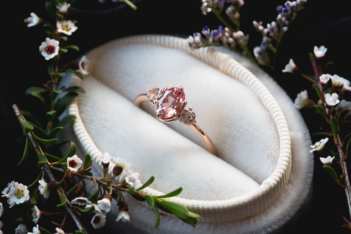 Oval champagne peach sapphire three stone ring, made to order in 2-3 weeks