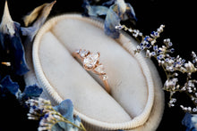 Load image into Gallery viewer, Pear moissanite cluster five stone engagement ring, 14k gold vintage style ring, cluster engagement ring, alternative engagement, fairytale