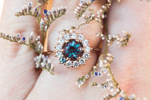 Load image into Gallery viewer, Alexandrite cluster halo engagement ring, unique engagement ring,
