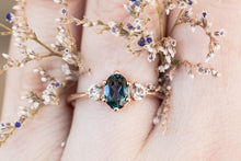 Load image into Gallery viewer, London blue topaz 14k gold engagement ring, unique engagement ring, alternative bridal, teal rose gold ring, three stone engagement ring