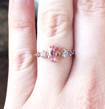 Load image into Gallery viewer, Oval peach sapphire cluster engagement ring, Chatham champagne sapphire ring, alternative engagement ring, unique engagement ring, cluster