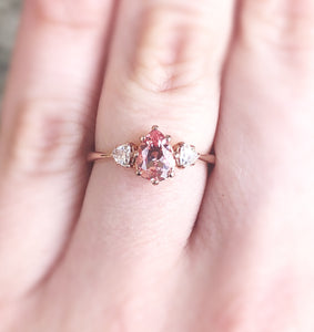 Peach sapphire moissanite three stone engagement ring, pear engagement ring, three stone ring, peach engagement ring, unique engagement