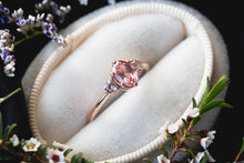 Load image into Gallery viewer, Oval champagne peach sapphire three stone ring, made to order