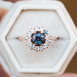 Alexandrite cluster halo engagement ring, unique engagement ring,