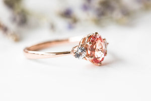 Oval champagne peach sapphire three stone ring, made to order