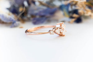 Pear moissanite cluster five stone engagement ring, 14k gold vintage style ring, cluster engagement ring, alternative engagement, fairytale