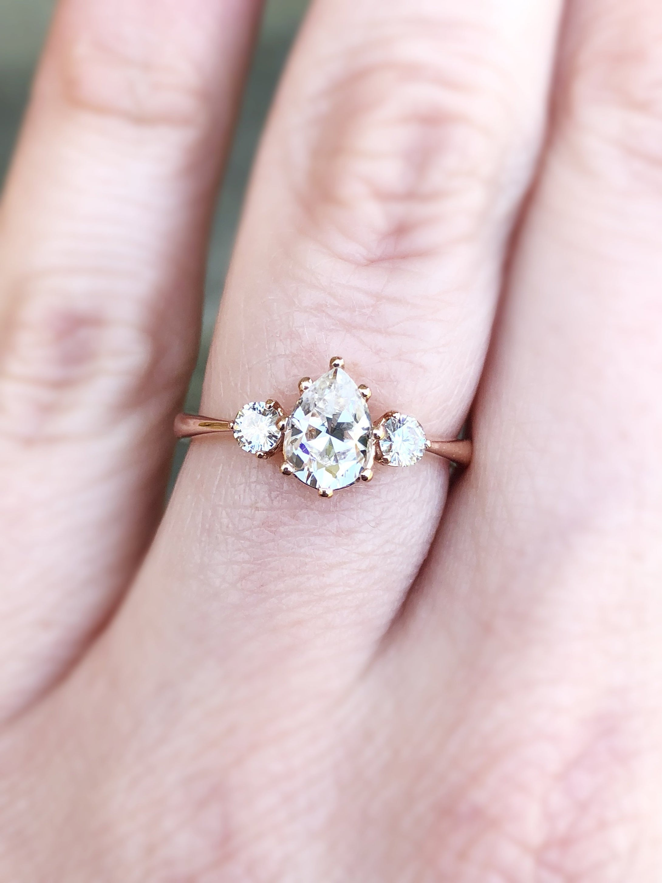 Pear moissanite three stone engagement ring, pear engagement ring, three stone ring, rose gold moissanite ring, alternative engagement ring