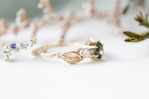 Tourmaline and moissanite leaf twig engagement ring