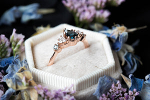Pear London blue topaz cluster five stone engagement ring, 14k gold blue topaz ring, cluster engagement ring, alternative engagement