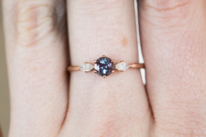 Alexandrite moissanite marquise twig engagement ring, three stone ring