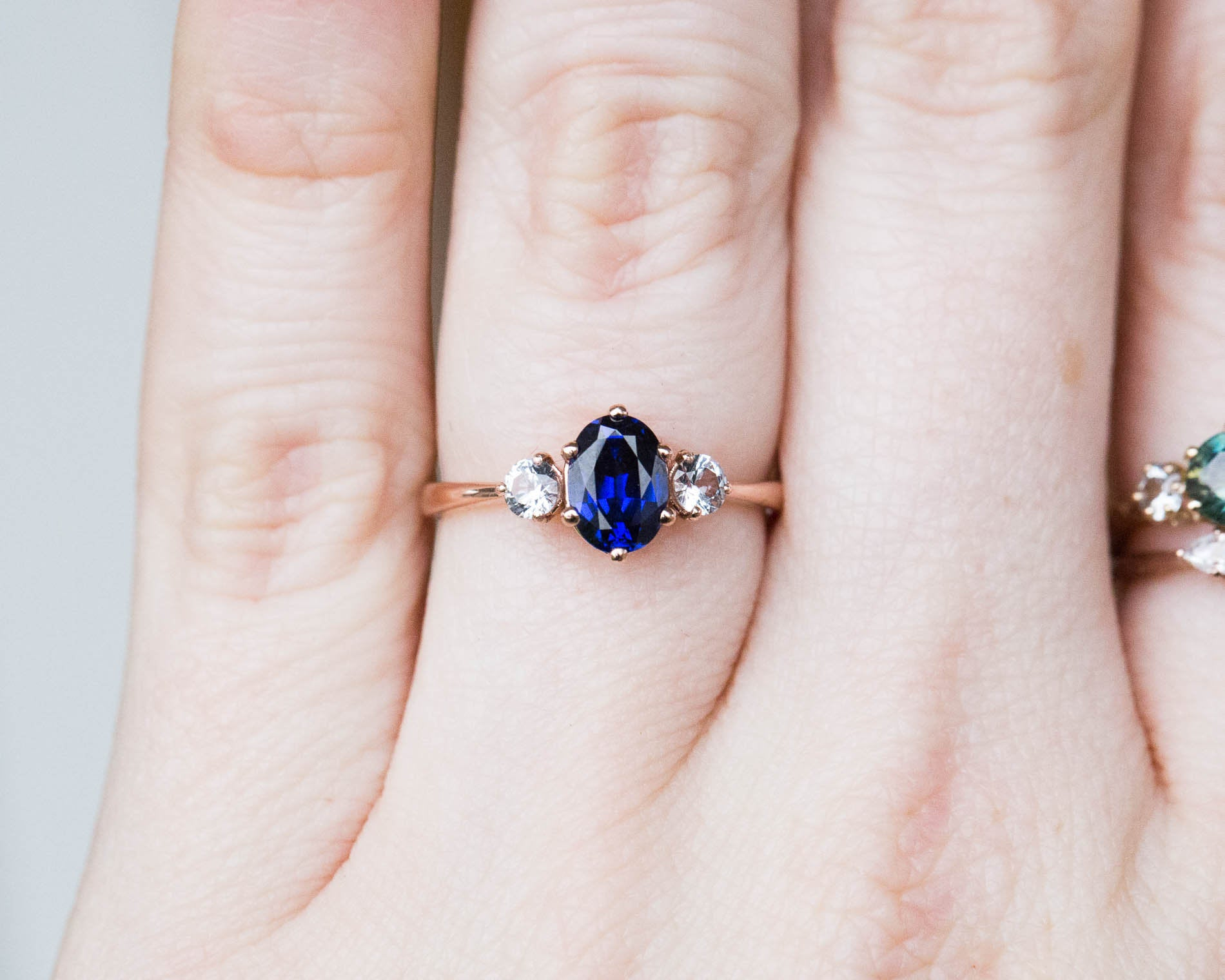 Oval Blue Sapphire Three Stone 14k Gold Engagement Ring Lab Created S Oore Jewelry