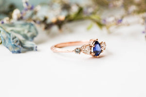 Pear blue sapphire cluster five stone engagement ring, 14k gold sapphire ring, cluster engagement ring, alternative engagement, twig ring