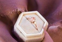 Load image into Gallery viewer, Peach sapphire moissanite three stone engagement ring, pear engagement ring, three stone ring, peach engagement ring, unique engagement