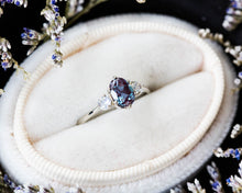 Load image into Gallery viewer, Alexandrite moonstone three stone 14k gold engagement ring,