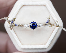 Load image into Gallery viewer, Blue sapphire twig marquise engagement ring, three stone ring, 14k gold ring, twig ring, marquise ring, alternative engagement ring, oore