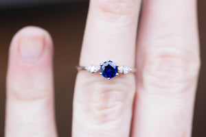 Blue sapphire twig marquise engagement ring, three stone ring, 14k gold ring, twig ring, marquise ring, alternative engagement ring, oore