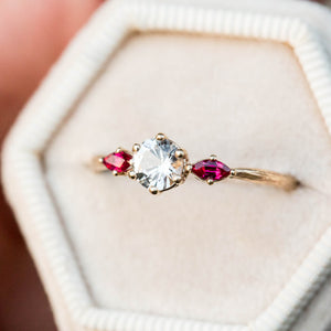 White sapphire and ruby twig engagement ring