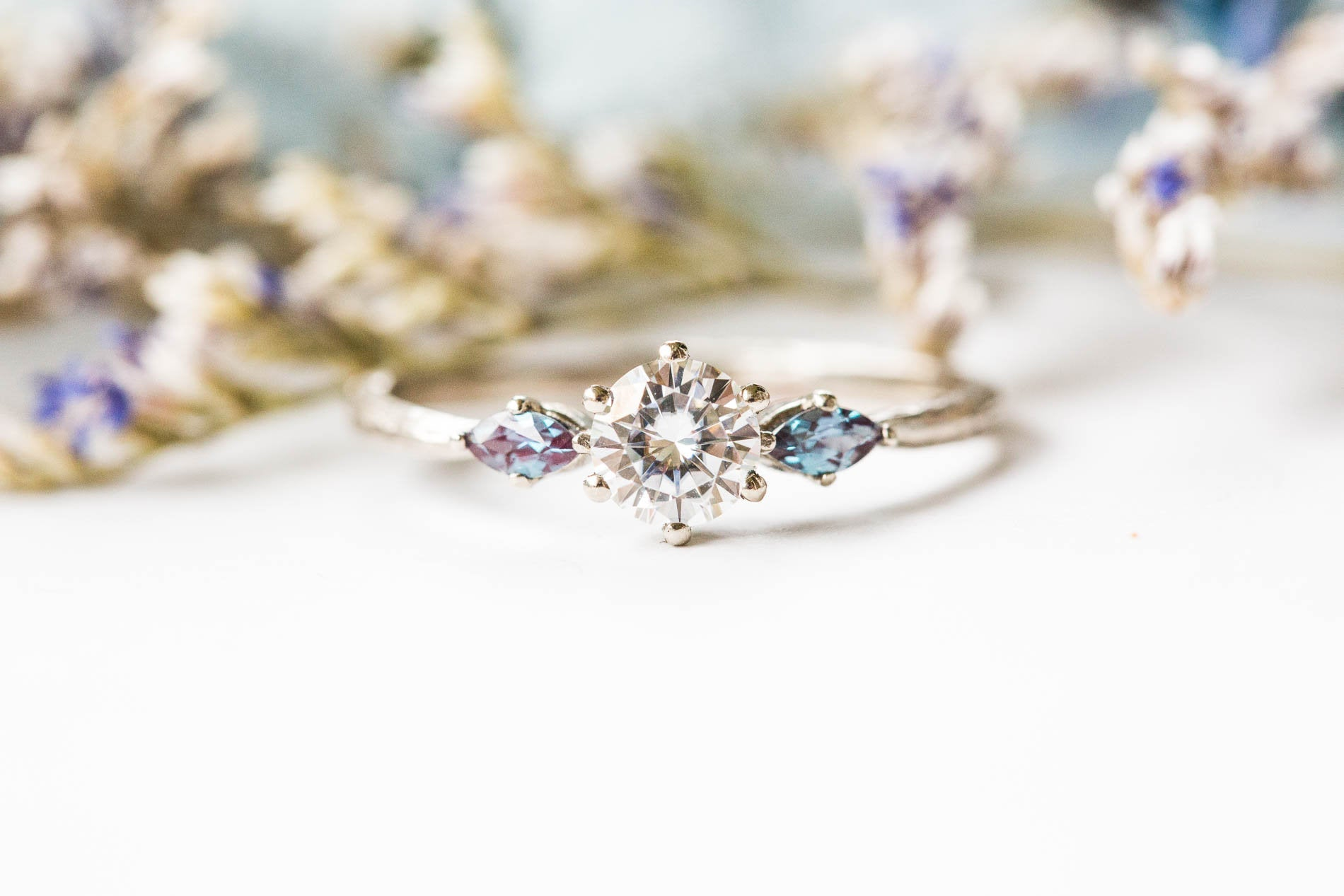 Moissanite marquise twig engagement ring, alexandrite engagement ring, 14k gold ring, twig ring, marquise, alternative engagement ring