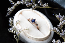 Load image into Gallery viewer, Pear blue sapphire cluster five stone engagement ring, 14k gold sapphire ring, cluster engagement ring, alternative engagement, twig ring