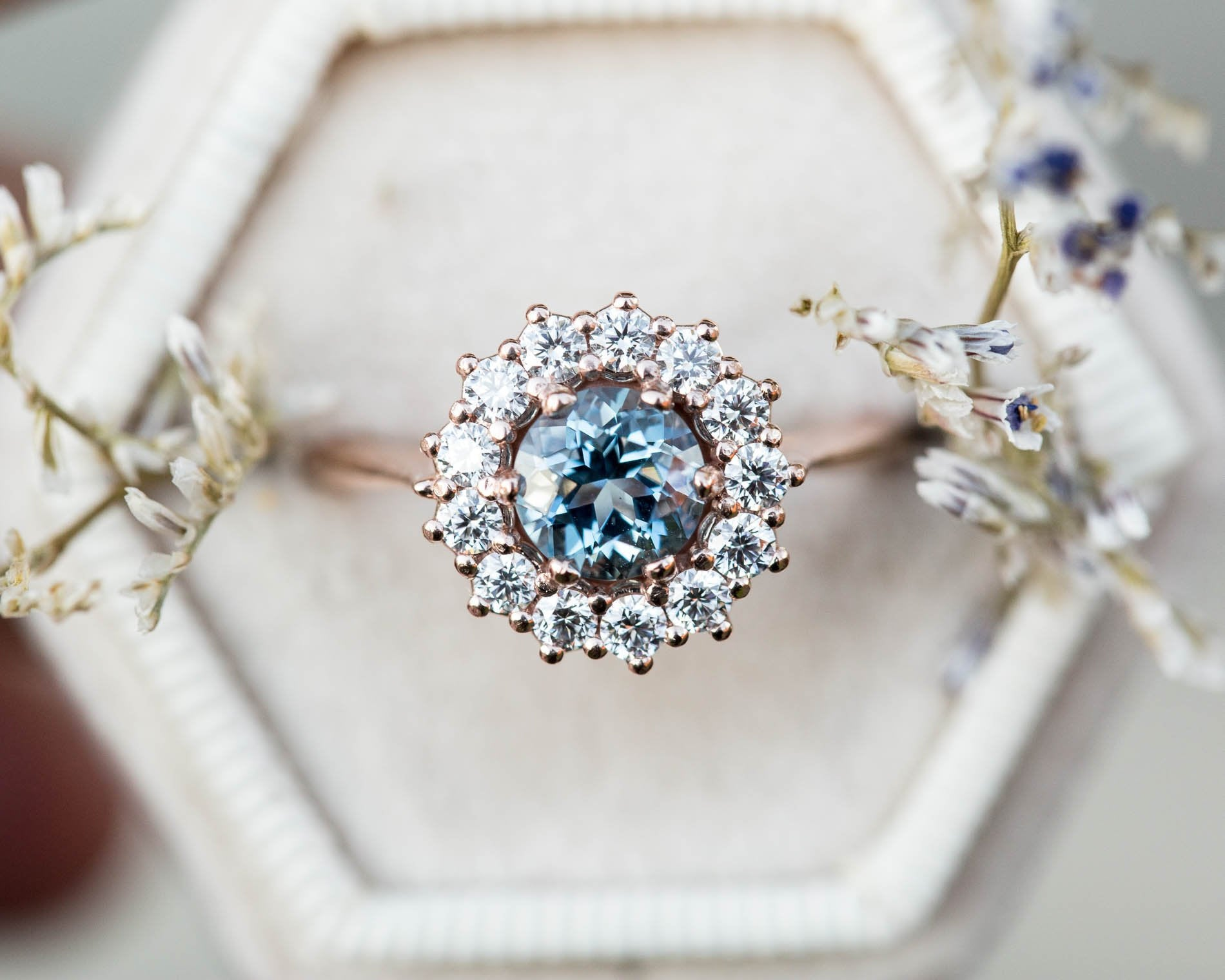 Aquamarine diamond halo engagement ring, cluster vintage inspired ring, made to order in 2-3 weeks