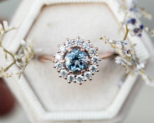 Load image into Gallery viewer, Aquamarine diamond halo engagement ring, cluster vintage inspired ring, made to order in 2-3 weeks