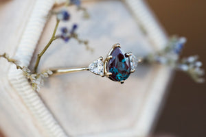 Pear alexandrite moissanite three stone engagement ring, made to order in 2-3 weeks
