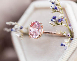 Peach sapphire solitaire engagement ring, twig engagement ring, engraved ring, blush sapphire ring, fantasy ring, oval sapphire ring
