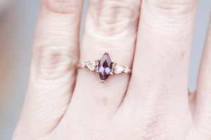 Marquise alexandrite five stone cluster engagement ring, 14k gold ring, alexandrite ring, twig boho ring, unique engagement ring