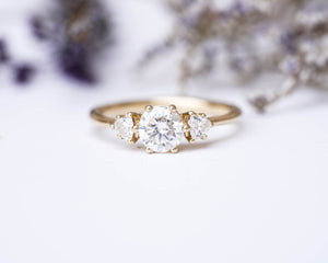 Moissanite three stone gold engagement ring, unique engagement ring, round stone engagement ring, alternative bridal, trillion three stone