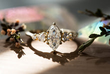 Load image into Gallery viewer, Marquise moissanite five stone cluster engagement ring, 14k gold ring, moissanite ring, fine jewelry ring, unique engagement ring, gold ring