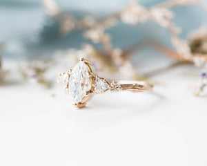 Marquise moissanite five stone cluster engagement ring, 14k gold ring, moissanite ring, fine jewelry ring, unique engagement ring, twig ring