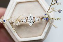 Load image into Gallery viewer, Marquise moissanite five stone cluster engagement ring, 14k gold ring, moissanite ring, fine jewelry ring, unique engagement ring, twig ring