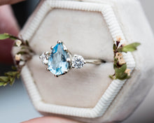 Load image into Gallery viewer, Aquamarine pear three stone engagement ring, made to order in 2-3 weeks