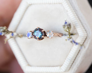 Alexandrite moonstone twig engagement ring