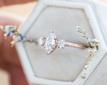 Load image into Gallery viewer, Marquise moissanite twig engagement ring, three stone engagement ring, moissanite ring, 14k gold ring, marquise twig ring, twig engagement