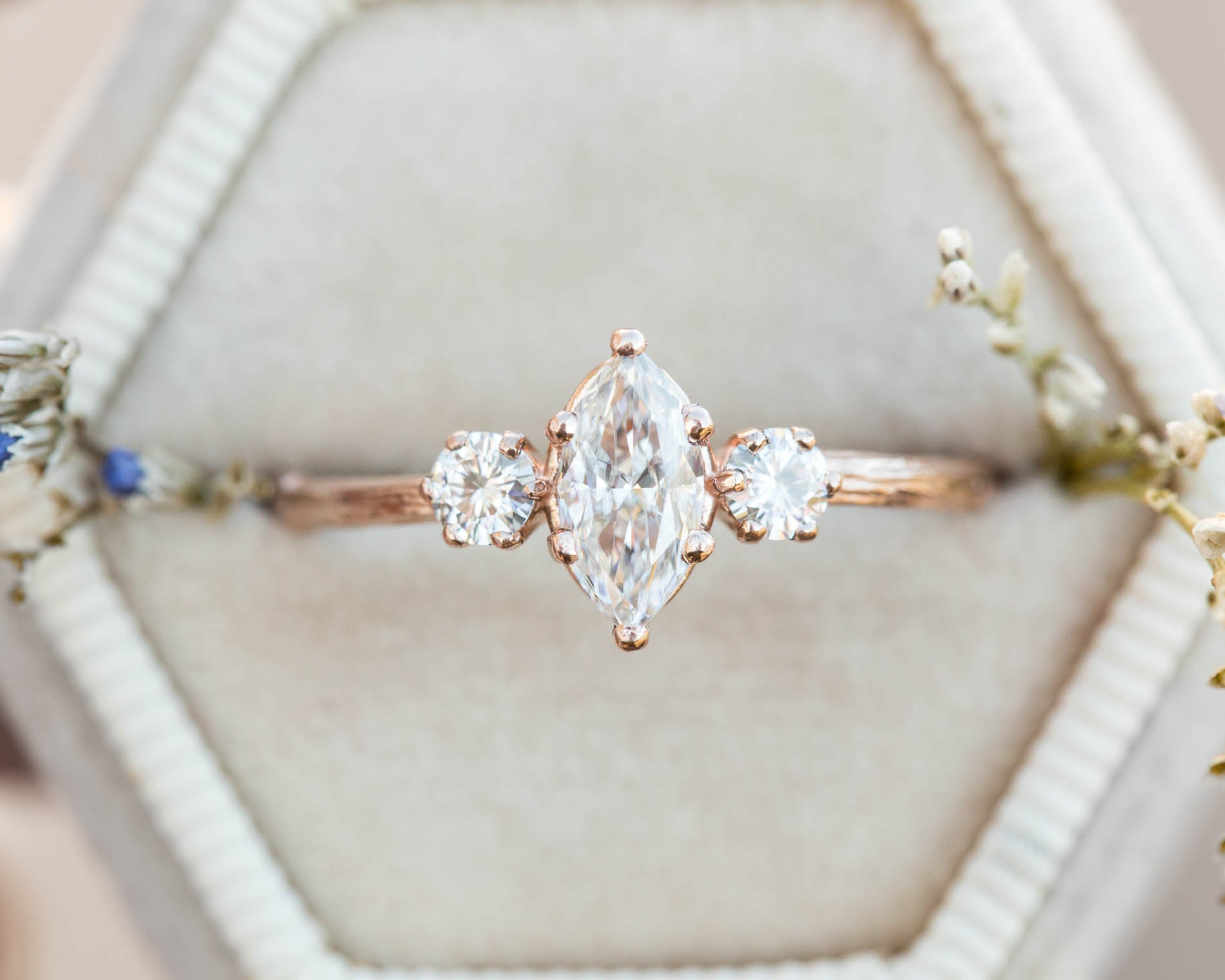 Marquise moissanite twig engagement ring, three stone engagement ring, moissanite ring, 14k gold ring, marquise twig ring, twig engagement