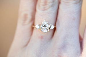 Moissanite pear three stone engagement ring, pear engagement ring, three stone ring, rose gold diamond alternative ring, princess ring, oore