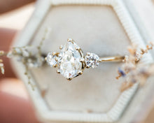Load image into Gallery viewer, Moissanite pear three stone engagement ring, pear engagement ring, three stone ring, rose gold diamond alternative ring, princess ring, oore