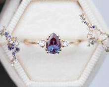 Load image into Gallery viewer, Alexandrite pear three stone ring, unique engagement ring, ready to ship in 2-3 weeks