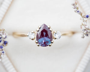 Alexandrite pear three stone ring, unique engagement ring, ready to ship in 2-3 weeks