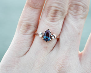 Alexandrite sapphire three stone engagement ring, pear engagement ring, made to order in 2-3 weeks
