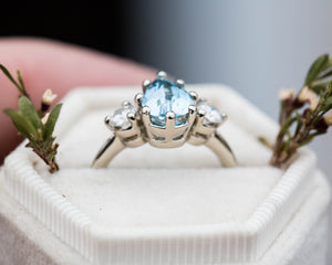 Aquamarine pear three stone engagement ring, made to order in 2-3 weeks