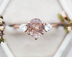 Rutilated quartz engagement ring, three stone ring, unique engagement ring, rutilated quartz ring, oore, vintage inspired ring, 14k gold
