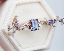 Load image into Gallery viewer, Alexandrite sapphire three stone engagement ring, emerald cut engagement ring,