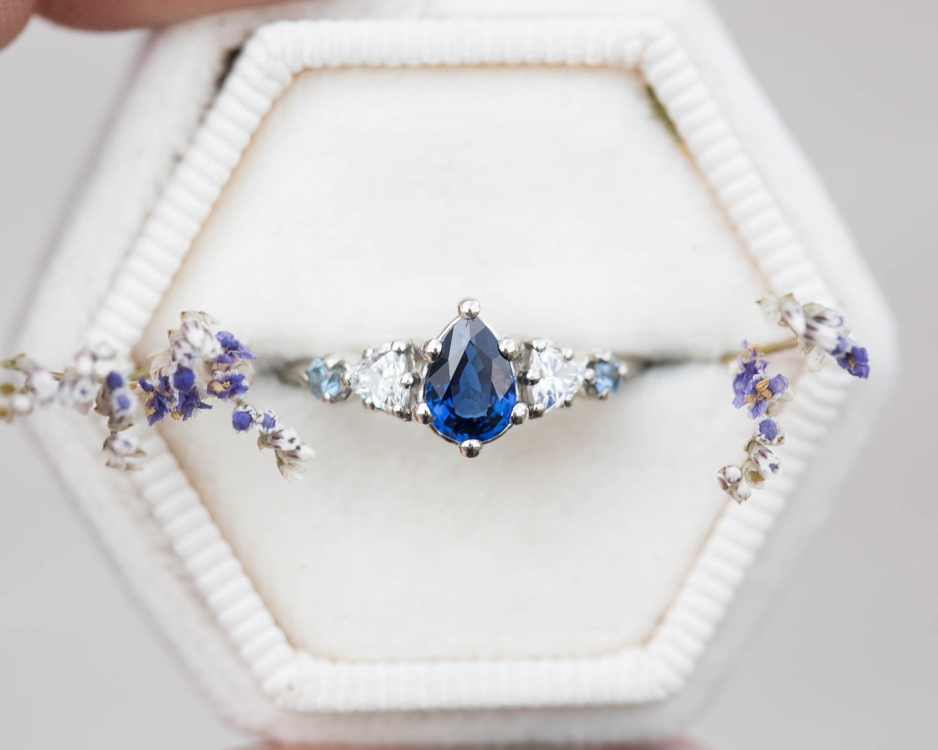 Pear blue sapphire cluster five stone engagement ring, 14k vintage style ring, cluster engagement ring, alternative engagement, fairytale